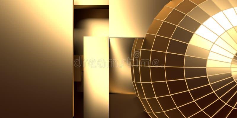 栅栏, wireframe金黄球形 皇族释放例证