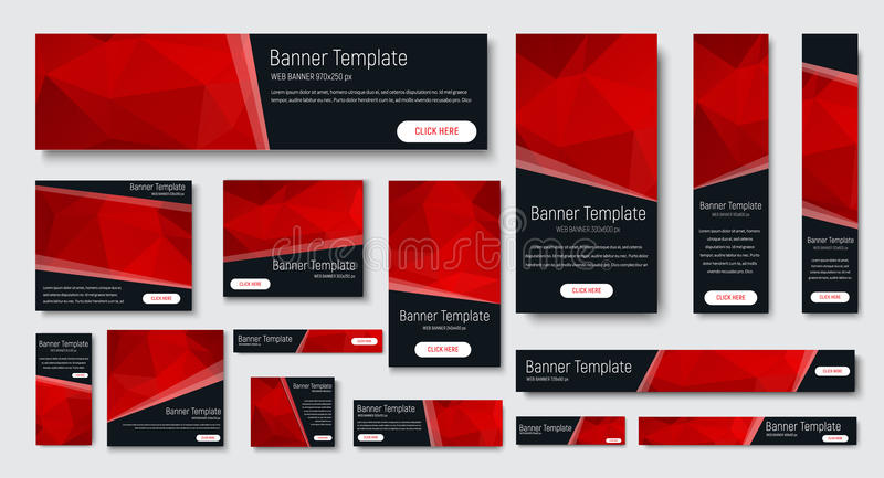 标准大小黑横幅设计  库存例证