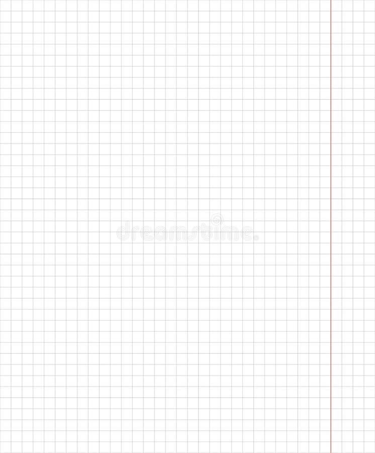 标准笔记本板料垂直的笼子学校笔记本纸的5毫米样式 传染媒介和例证 库存例证
