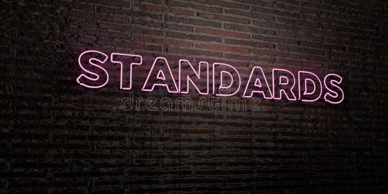 标准-在砖墙背景的现实霓虹灯广告- 3D回报了皇族自由储蓄图象 皇族释放例证