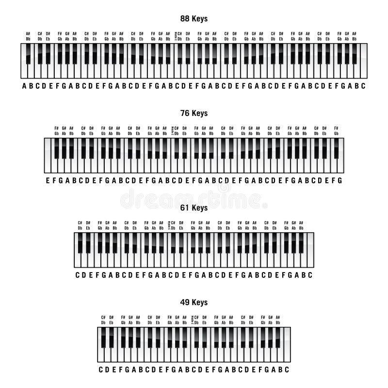 标准88键、76键、61键和49键布局的钢琴键盘,带有标签、独立矢量图 免版税库存图片