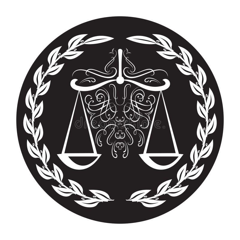 标度的律师标志在月桂树花圈的在黑背景 正义的Weigther和仲裁 库存例证