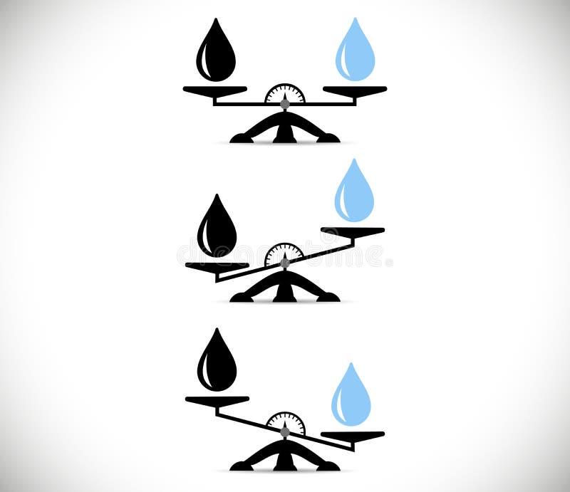 标度,石油产品,水 挑选概念 平的样式 在被隔绝的背景的传染媒介例证 向量例证
