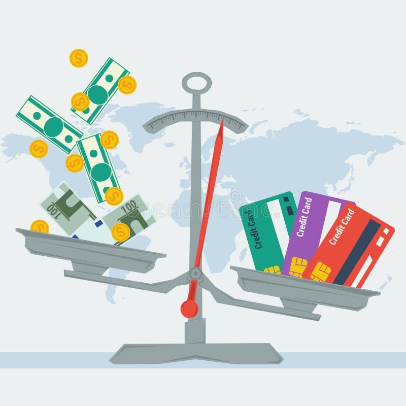 标度-信用卡或金钱 向量例证