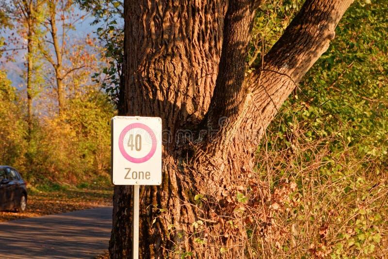 标志'限速- 40区域'在游泳场附近的公园地方 库存图片