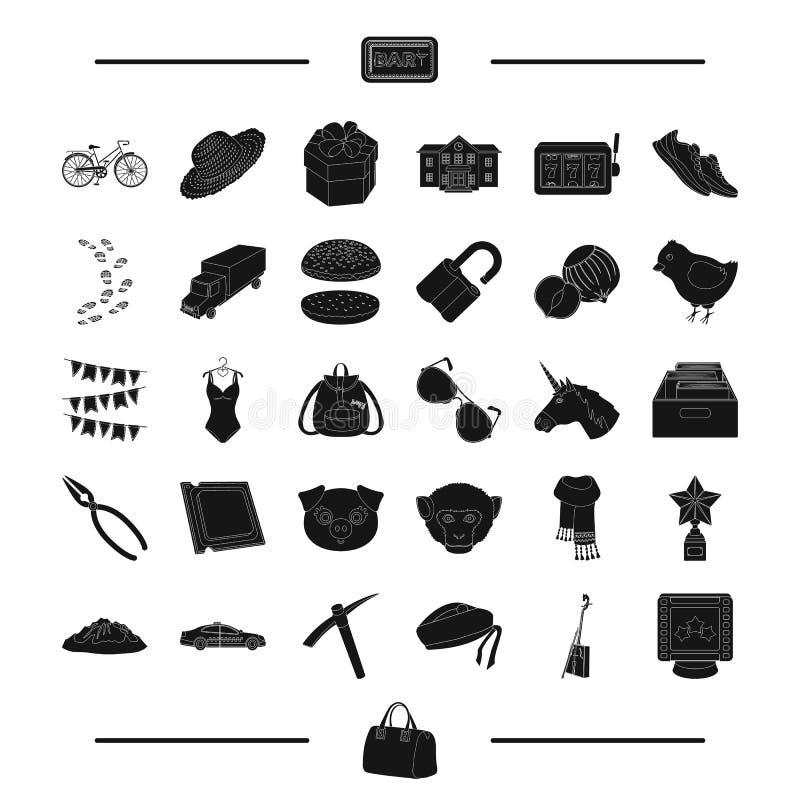 标志、动物、罪行和其他网象在黑样式 教育,休闲,在集合汇集的食物象 皇族释放例证