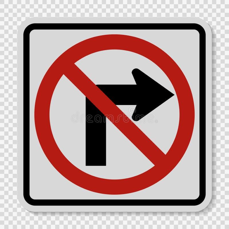 标志不向右转在透明背景的交通标志 向量例证