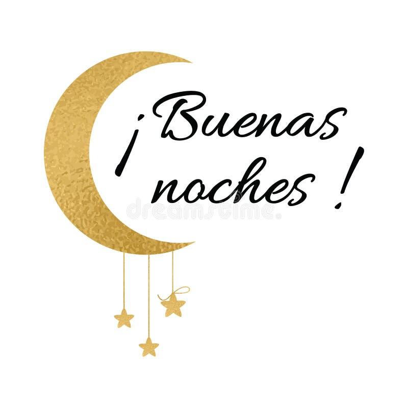 标志与在西班牙语的文本晚上好 祝愿与月亮和星的横幅在金子颜色 向量例证
