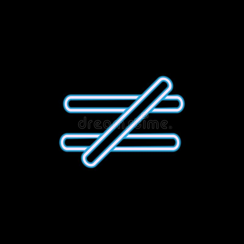 标志与在霓虹样式的象不是相等的 一网汇集象可以为UI, UX使用 库存例证