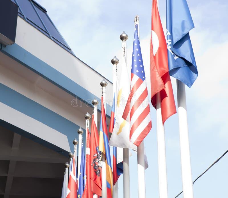 标志临近国际商务中心 免版税库存图片