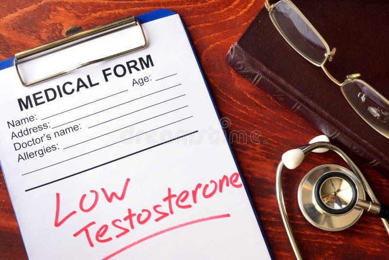 标志低睾甾酮以形式 免版税库存图片