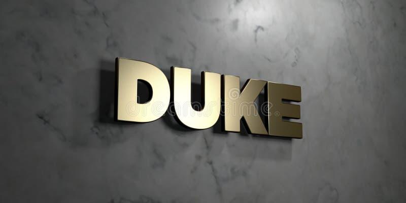 标志公爵-在光滑的大理石墙壁登上的金- 3D回报了皇族自由储蓄例证 库存例证