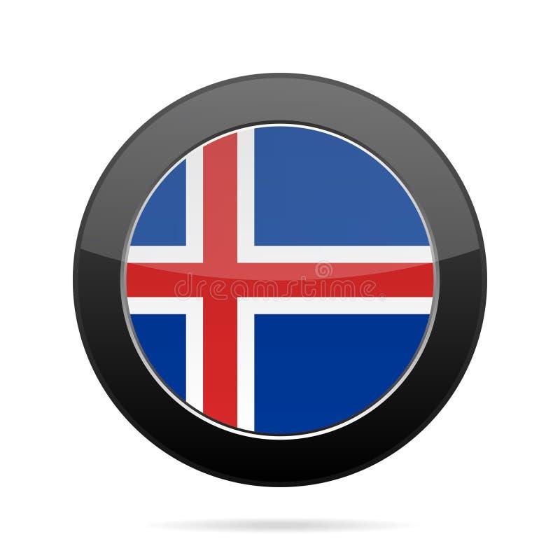 标志冰岛 发光的黑圆的按钮 库存例证
