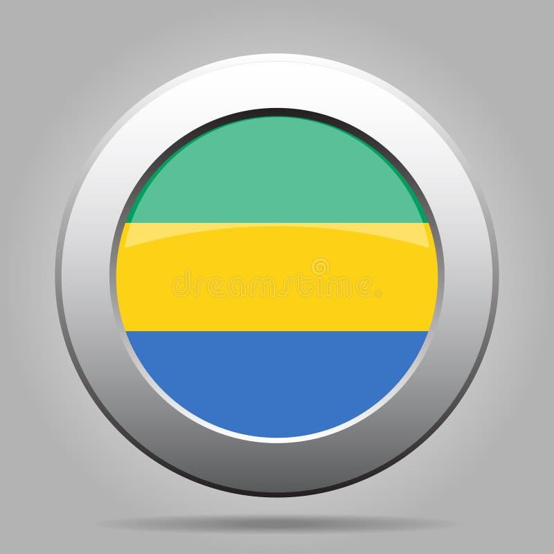 标志加蓬 发光的金属灰色圆的按钮 库存例证