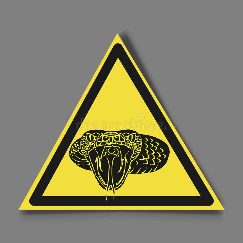 标志危险 蛇和标志小心地曲折前进 向量例证