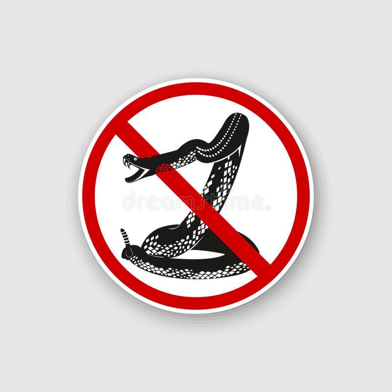 标志危险 蛇和标志小心地曲折前进 库存例证