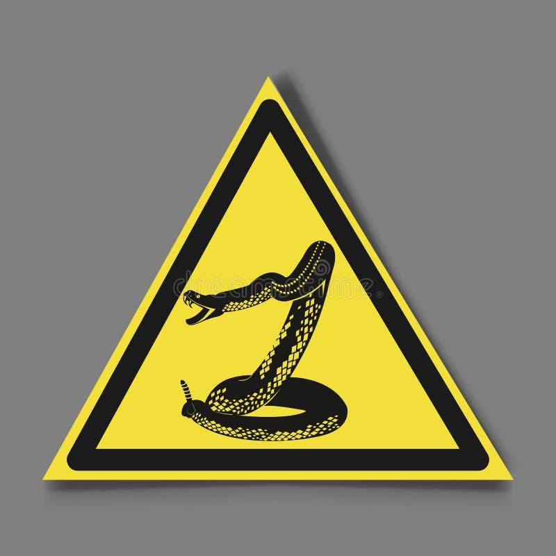 标志危险 蛇和标志小心地曲折前进 皇族释放例证