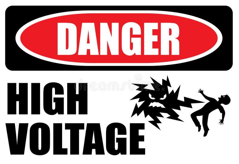 标志危险higj电压 皇族释放例证