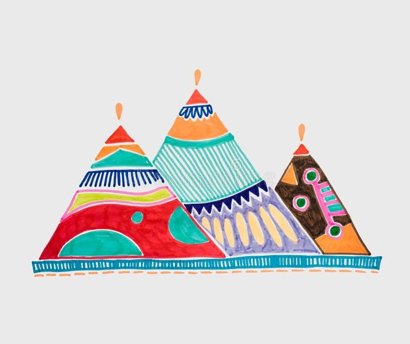 标志吉萨棉埃及金字塔略图  库存例证