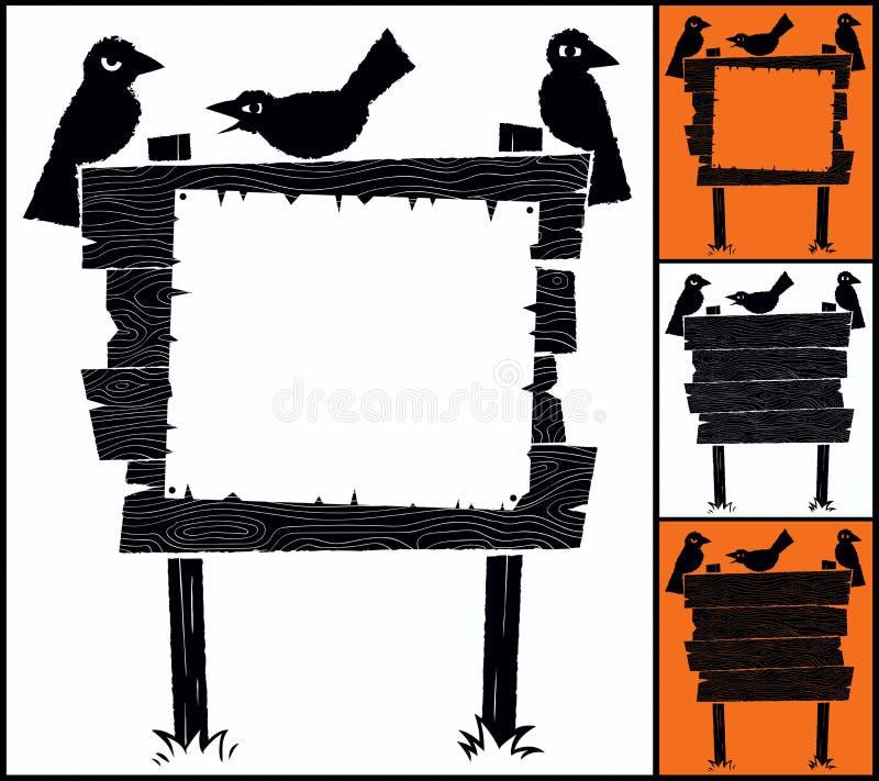 标志和乌鸦 库存例证