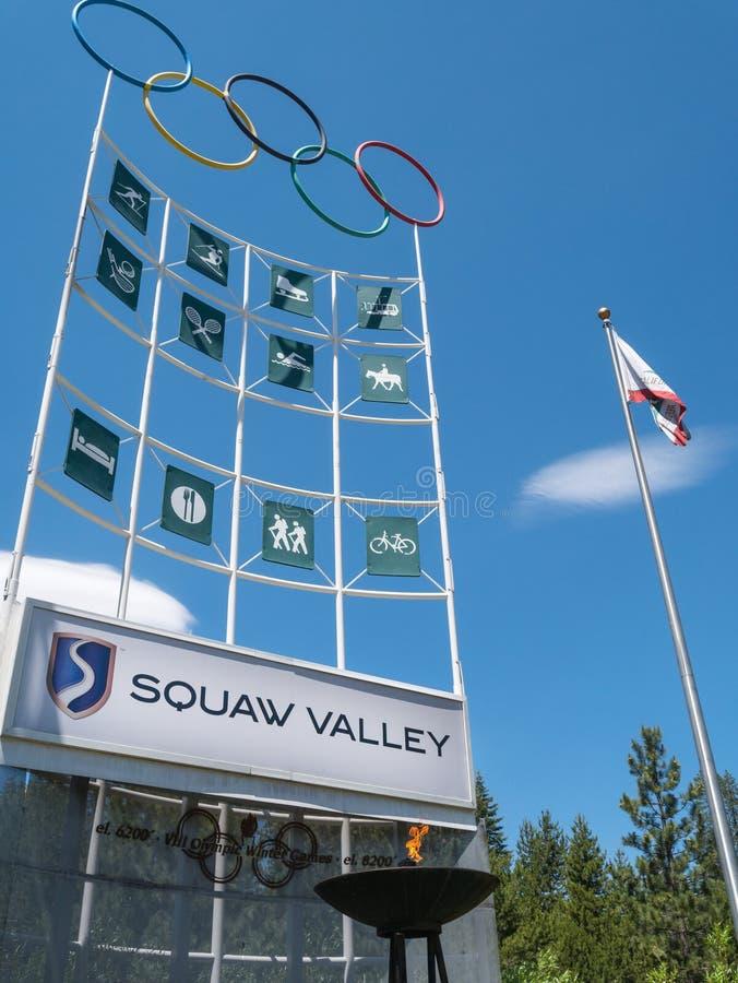 标志和火焰, Squaw谷,美国 免版税库存图片