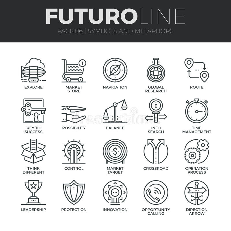 标志和隐喻Futuro线被设置的象 向量例证