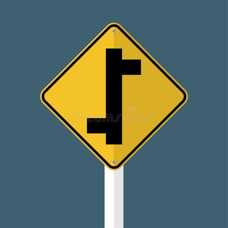 标志在透明背景的交错排列连接点交通路标 向量例证