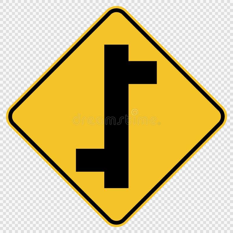 标志在透明背景的交错排列连接点交通路标 皇族释放例证