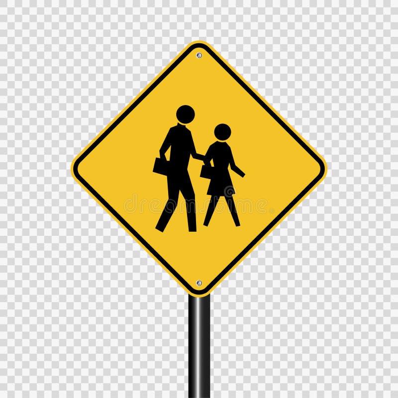 标志在透明背景的过路学生护送标志 皇族释放例证