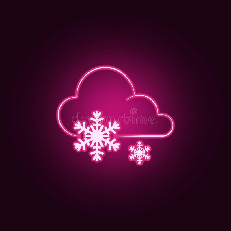 标志天气大雪象 天气的元素在霓虹样式象的 网站的简单的象,网络设计,流动应用程序,信息 皇族释放例证