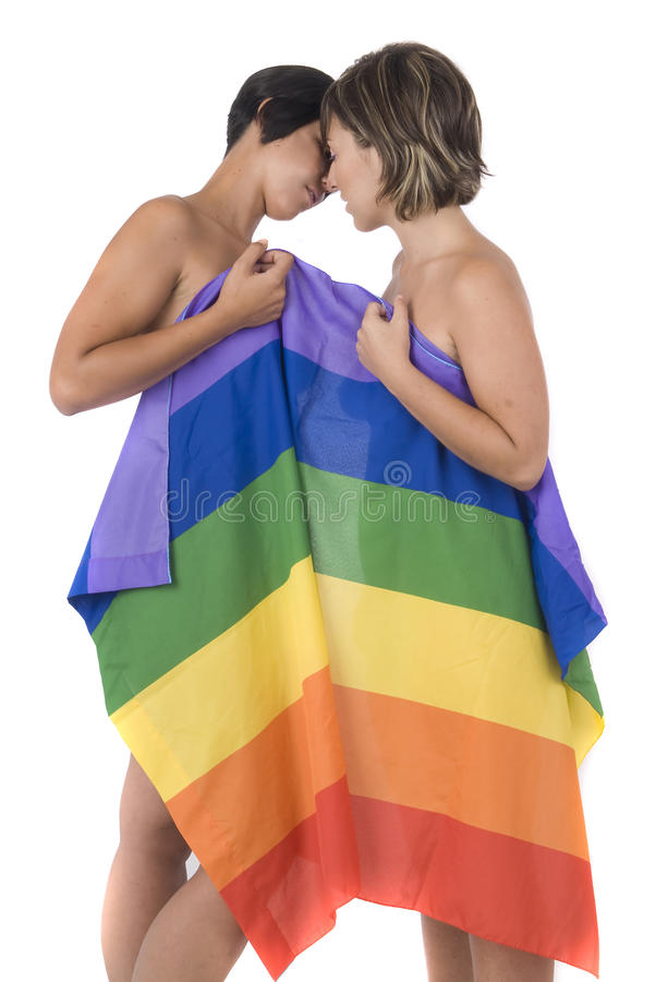 标志女同性恋的爱彩虹妇女 免版税图库摄影