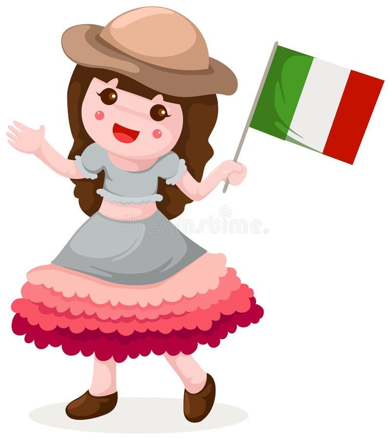 标志女孩藏品意大利语 向量例证