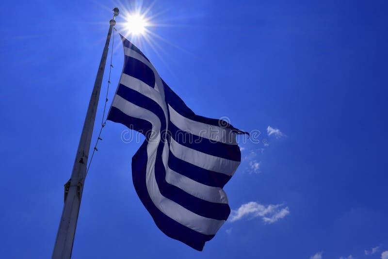 标志希腊 希腊语白色蓝旗信号  免版税库存照片