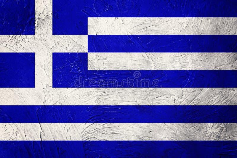 标志希腊grunge 与难看的东西纹理的希腊旗子 免版税图库摄影