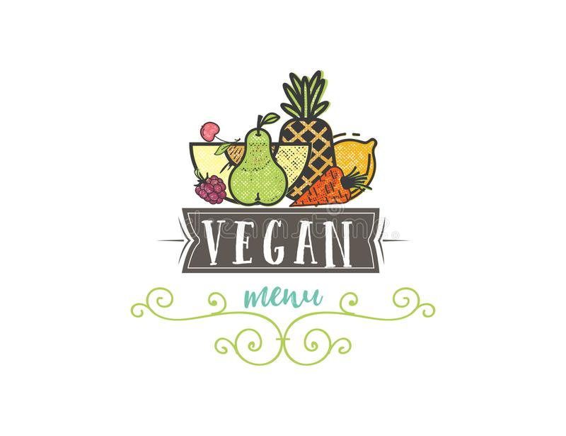 标志您的沙拉柜台或素食主义者菜单的健康烹调商标和有机食品标志 皇族释放例证