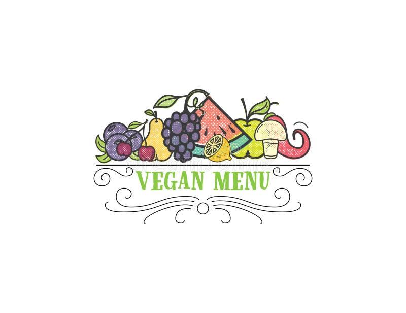 标志您的沙拉柜台或素食主义者菜单的健康烹调商标和有机食品标志 向量例证