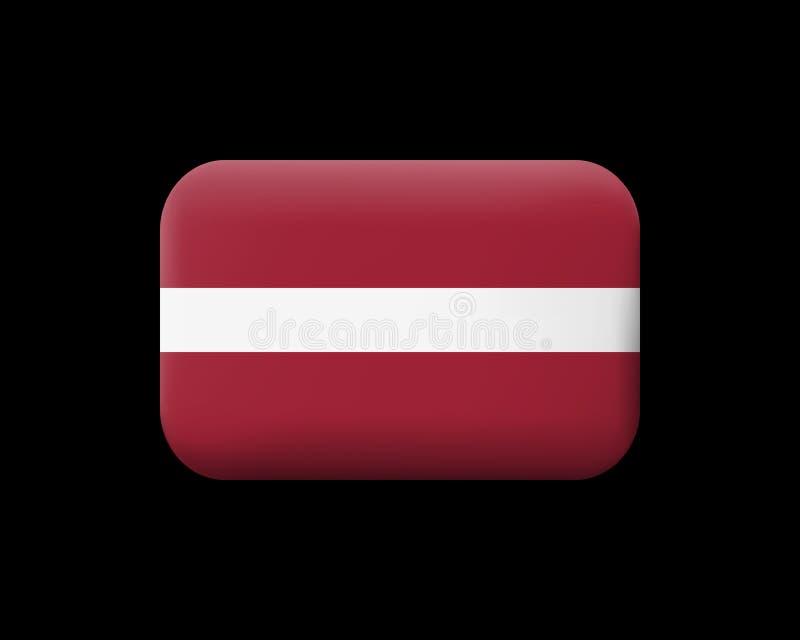 标志拉脱维亚 有席子的传染媒介象和按钮 长方形形状 库存例证