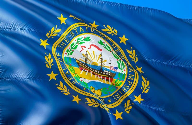 标志新的汉普郡 挥动美国州旗子设计的3D 新罕布什尔州,3D的全国美国标志翻译 上色国民 免版税库存图片
