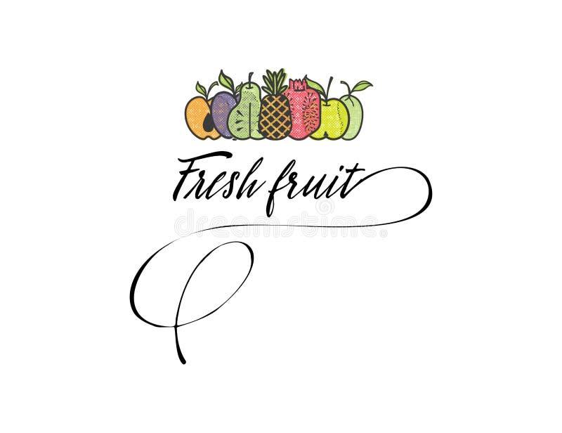 标志新鲜水果您的沙拉柜台或素食主义者菜单的商标和有机食品标志 皇族释放例证