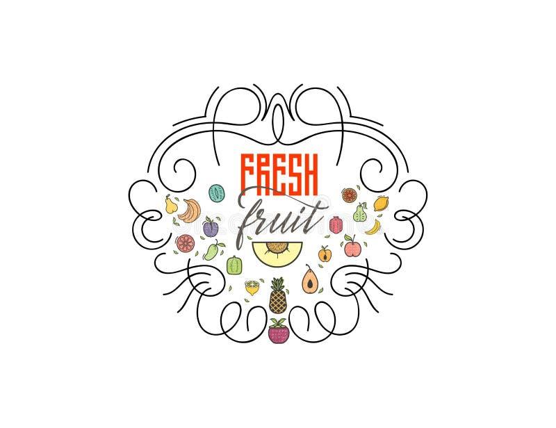 标志新鲜水果您的沙拉柜台或素食主义者菜单的商标和有机食品标志 向量例证