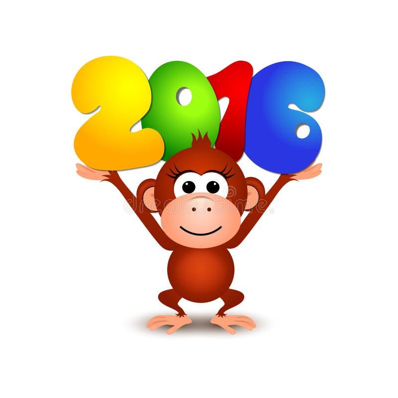 标志新年2016年,猴子 明信片新年快乐2016年 皇族释放例证