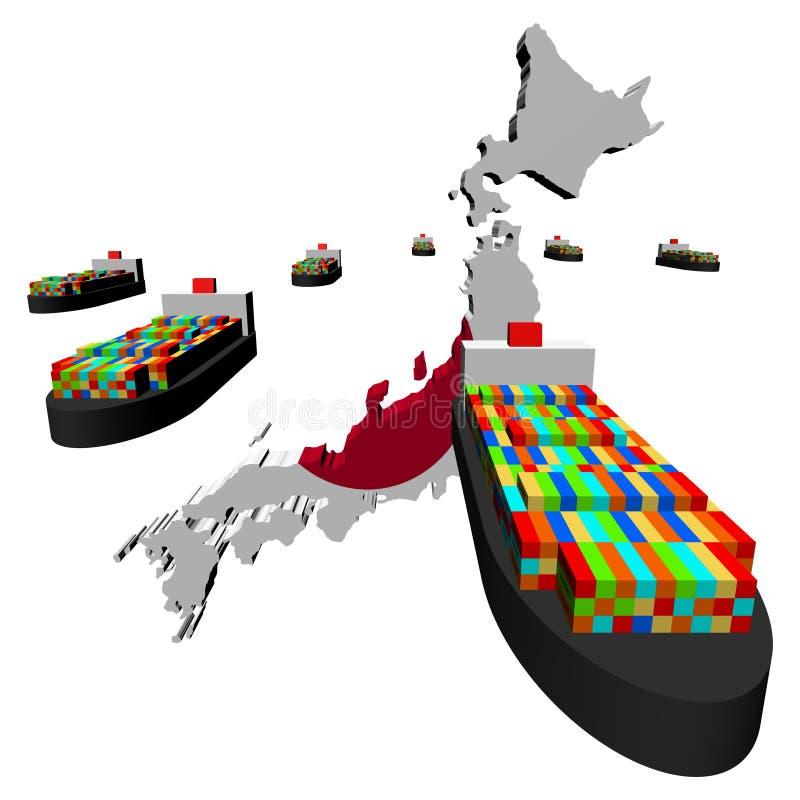 标志日本映射船 库存例证