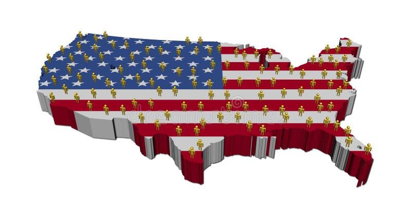 标志映射人美国 向量例证