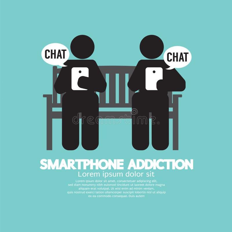 黑标志智能手机瘾 向量例证