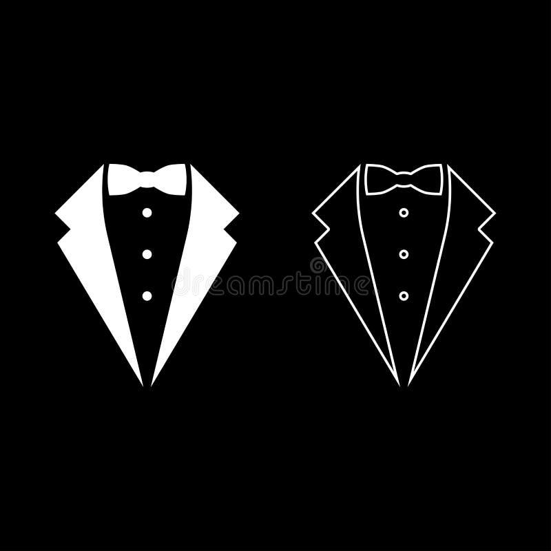 标志服务无尾礼服弓无尾礼服概念晚礼服标志男管家绅士想法侍者衣服象集合白色传染媒介 皇族释放例证