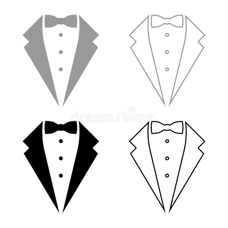 标志服务无尾礼服弓无尾礼服概念晚礼服标志男管家绅士想法侍者衣服象集合黑色传染媒介 库存例证