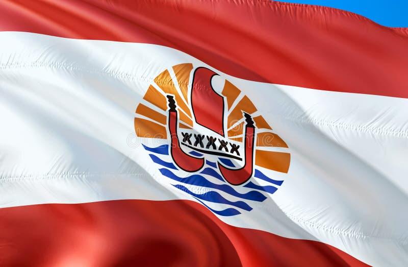 标志法属玻利尼西亚 3D挥动的旗子设计 法属玻里尼西亚的国家标志,3D翻译 国家标志的法语 库存例证