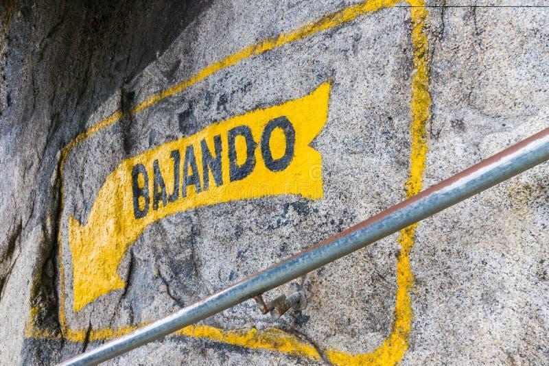标志的看法说下来用西班牙语 库存图片