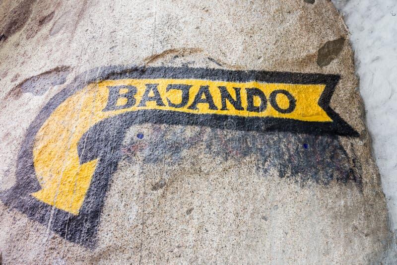 标志的看法说下来用西班牙语 库存照片