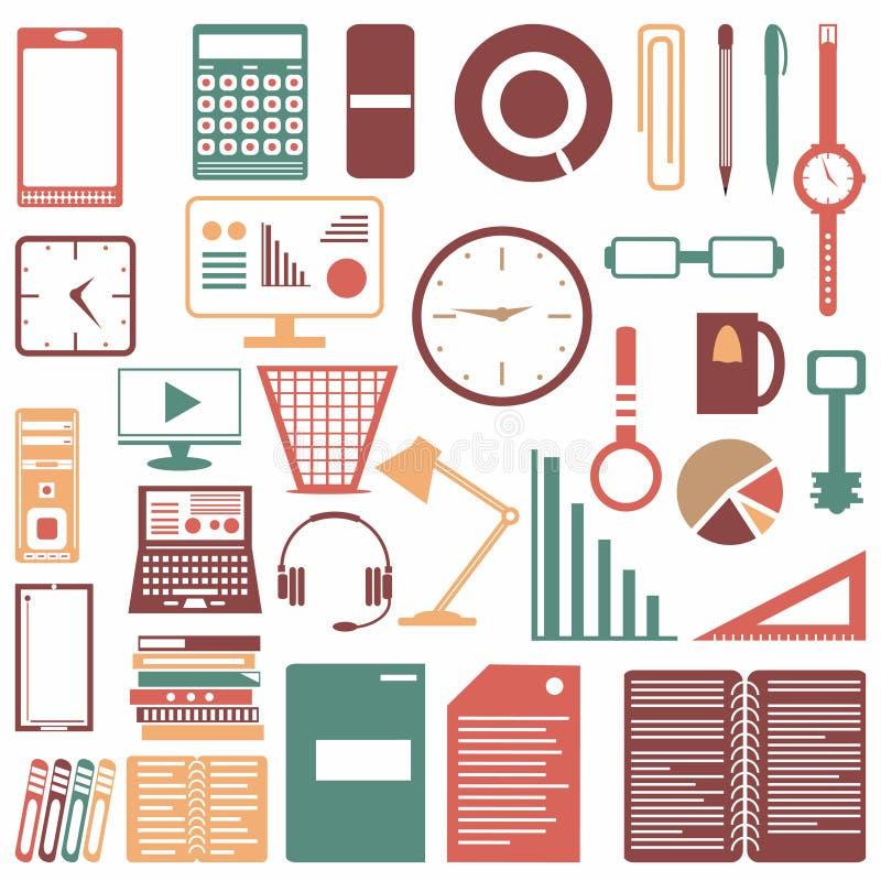 标志的色的办公室辅助部件收藏 库存例证